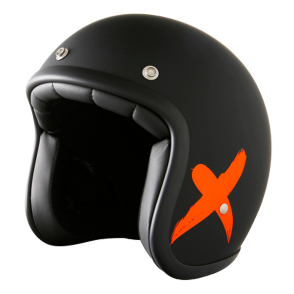 Casque Jet Stormer Pearl X-Rider Black Orange Mat