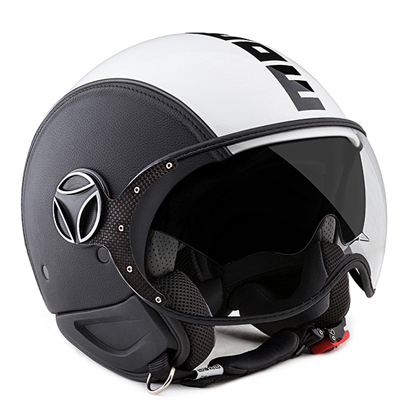 Casque Jet Momo Design Phantom Leather Black White