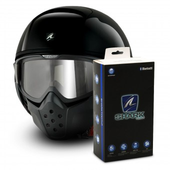 Casque Jet Shark Drak Blank BLK + Kit Bluetooth Sharktooth