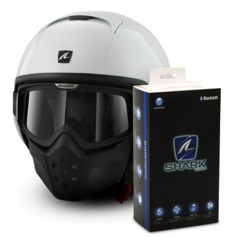 Casque Jet Shark Drak Blank WHU + Kit Bluetooth Sharktooth