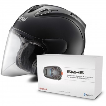 Casque Jet Arai SZ-RAM X Black Frost + Kit Bluetooth Sena SMH5 Solo
