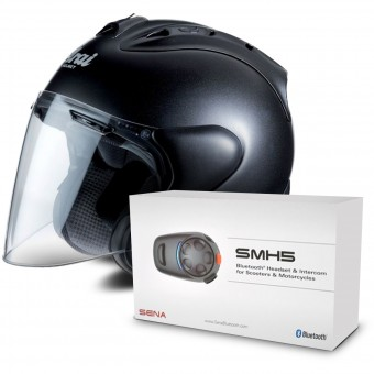 Casque Jet Arai SZ-RAM X Diamond Black + Kit Bluetooth Sena SMH5 Solo