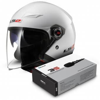 Casque Jet LS2 Track White OF569 + Kit Bluetooth Sena 3S
