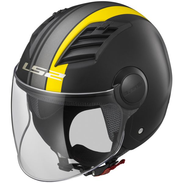 Casque Jet LS2 Airflow Metropolis Matt Black Yellow Long OF562