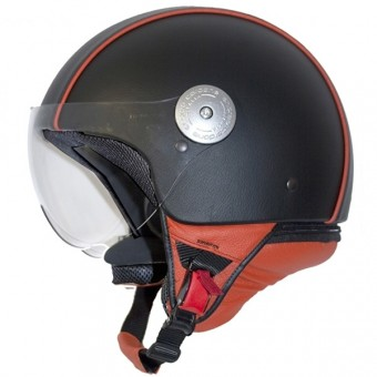 Casque Jet Andrea Cardone Vitello Cervo Noir Orange