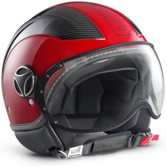 Casque Jet Momo Design Avio Rouge Carbone
