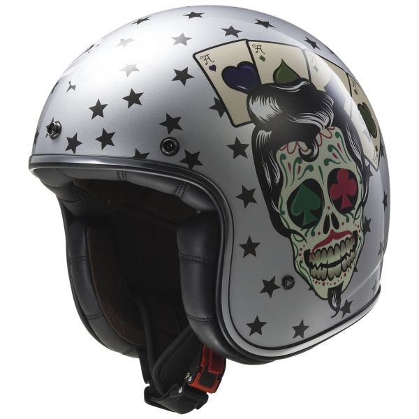 Casque Jet LS2 Bobber Tattoo Silver OF583