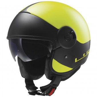 Casque Jet LS2 Cabrio Via Matt Hi-Vis Yellow Black OF597