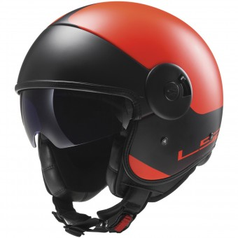 Casque Jet LS2 Cabrio Via Matt Orange Black OF597