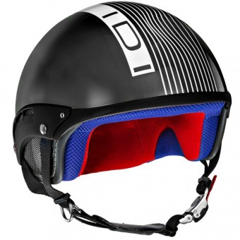 Casque Jet IDI Mini Stripes Noir - Blanc