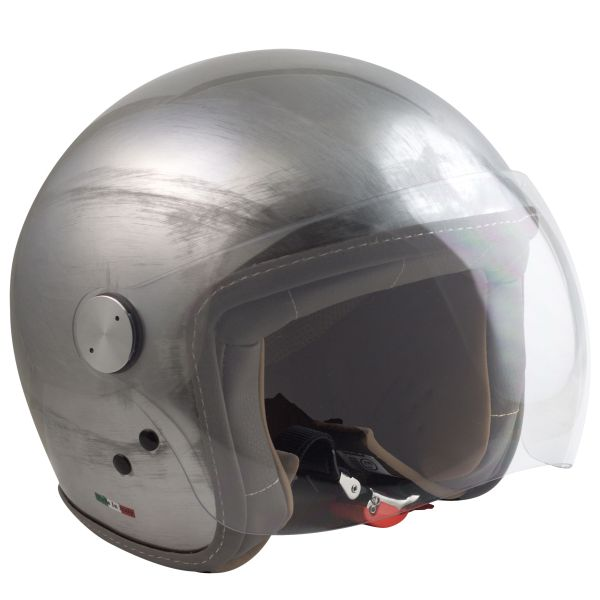 Casque Jet MAX Chic Scratch Chrome Effet Raye