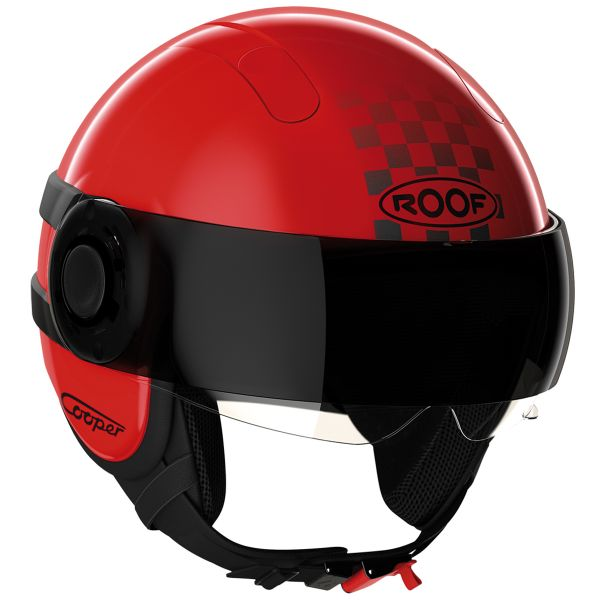 Casque Jet Roof Cooper Sunset Rouge Noir Mat