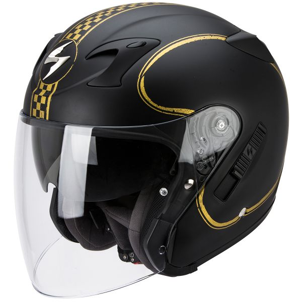 Casque Jet Scorpion Exo 220 Bixby Matte Black Gold