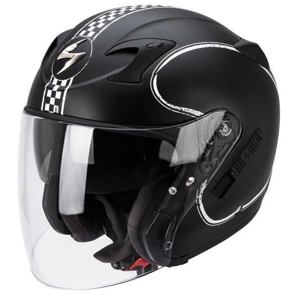 Casque Jet Scorpion Exo 220 Bixby Matte Black White