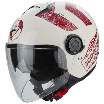 Casque Jet Scorpion Exo City Heritage Beige Red