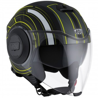 Casque Jet AGV Fluid Chicago Matt Black Yellow
