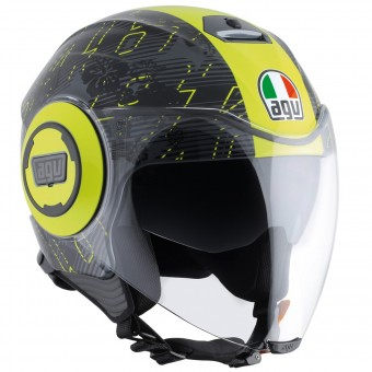 Casque Jet AGV Fluid Top Ibiscus Gunmetal Yellow