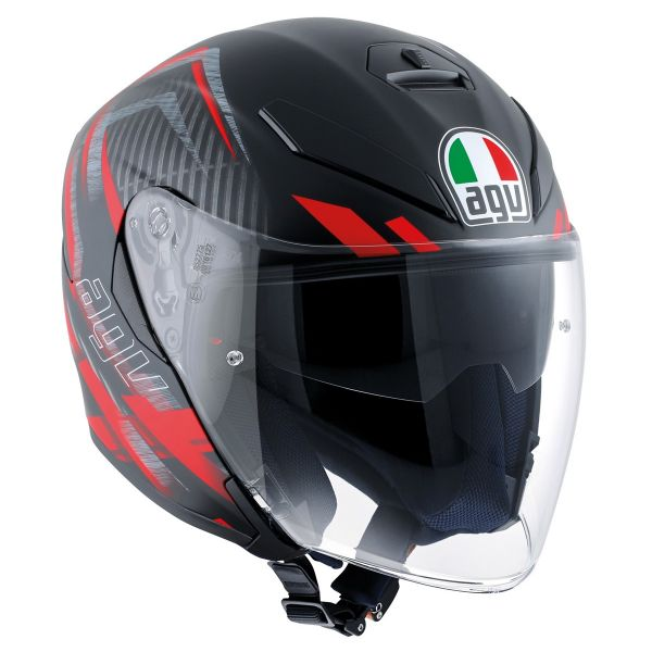 Casque Jet AGV K-5 Jet Urban Hunter Matt Black Red