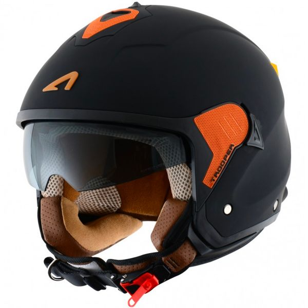 Casque Jet Astone Minijet Trooper Matt Black Orange