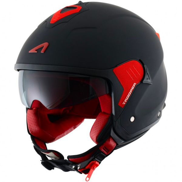 Casque Jet Astone Minijet Trooper Matt Black Red
