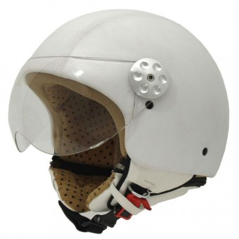 Casque Jet MT Retro Leather Blanc