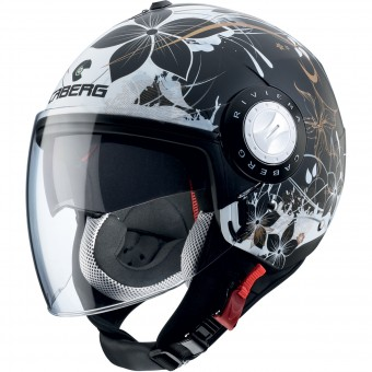 Casque Jet Caberg Riviera V3 Floral Matt Black White Gold
