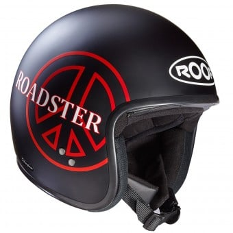 Casque Jet Roof Roadster Peace Noir Rouge Mat