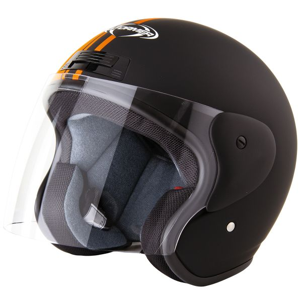 Casque Jet Stormer Sun Strip Matt Black Orange