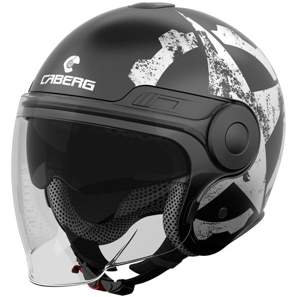 Casque Jet Caberg Uptown Gear Matt Black White