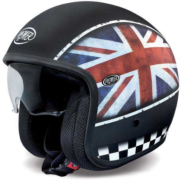 Casque Jet Premier Vintage Flag UK BM Mat
