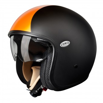 Casque Jet Premier Vintage Noir Mat Orange