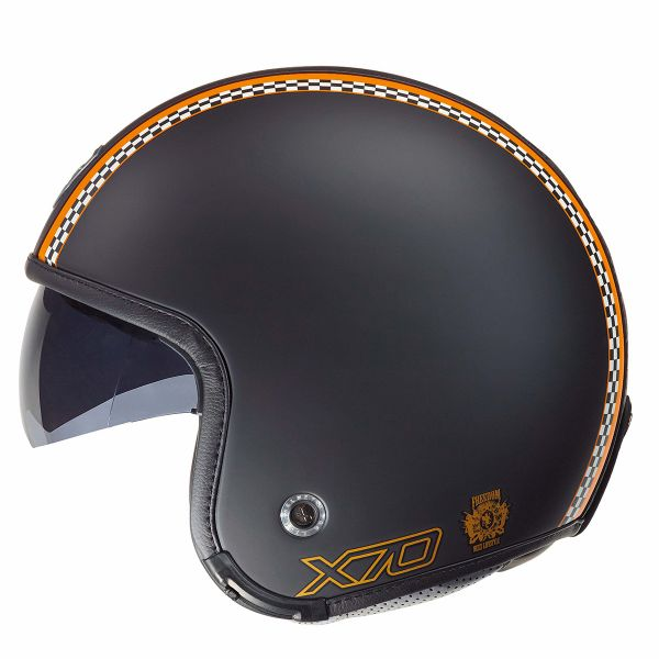 Casque Jet Nexx X70 Freedom Noir Mat Orange