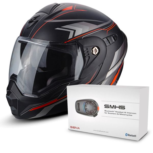 Casque Modulable Scorpion ADX-1 Anima Matt Black Red + Kit Bluetooth Sena SMH5