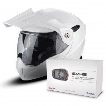 Casque Modulable Scorpion ADX-1 White + Kit Bluetooth Sena SMH5