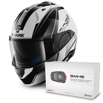Casque Modulable Shark Evo-One Astor WKA + Kit Bluetooth Sena SMH5 Solo