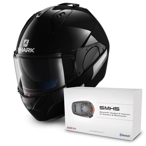 Casque Modulable Shark Evo-One Blank BLK + Kit Bluetooth Sena SMH5 Solo