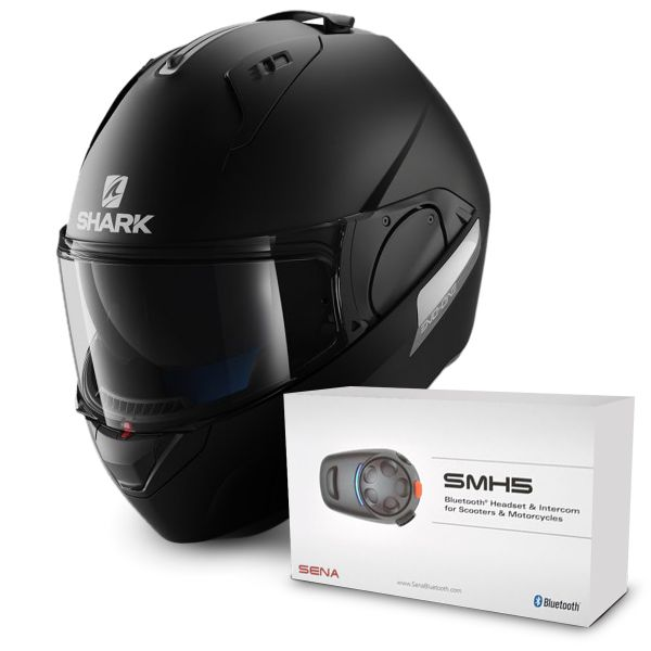 Casque Modulable Shark Evo-One Blank Mat KMA + Kit Bluetooth Sena SMH5 Solo