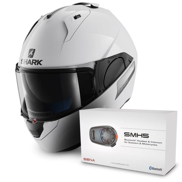 Casque Modulable Shark Evo-One Blank WHU + Kit Bluetooth Sena SMH5 Solo