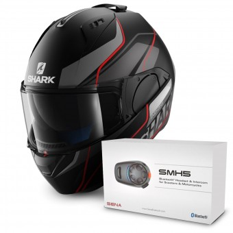Casque Modulable Shark Evo-One Krono Mat KAR + Kit Bluetooth Sena SMH5 Solo