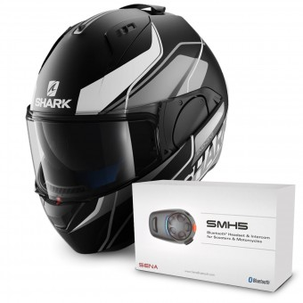 Casque Modulable Shark Evo-One Krono Mat KSW + Kit Bluetooth Sena SMH5 Solo