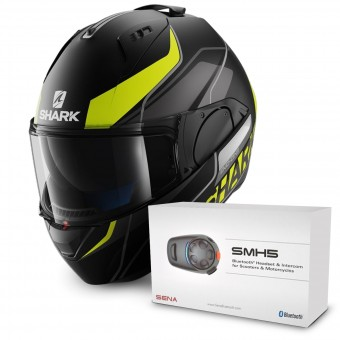 Casque Modulable Shark Evo-One Krono Mat KYW + Kit Bluetooth Sena SMH5 Solo
