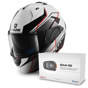 Casque Modulable Shark Evo-One Krono WKR + Kit Bluetooth Sena SMH5 Solo