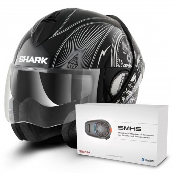 Casque Modulable Shark Evoline Serie 3 Mezcal Chrome KUK + Kit Bluetooth Sena SMH5