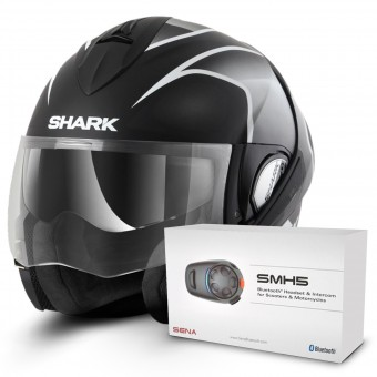Casque Modulable Shark Evoline Serie 3 Starq Mat KWK + Kit Bluetooth Sena SMH5
