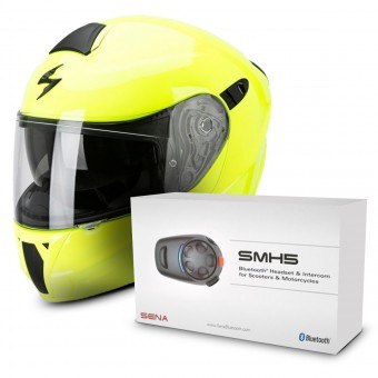 Casque Modulable Scorpion Exo 920 Neon Yellow + Kit Bluetooth Sena SMH5 Solo