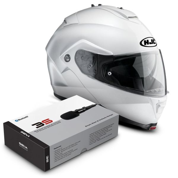 Casque Modulable HJC IS-MAX II Blanc + Kit Bluetooth Sena 3S