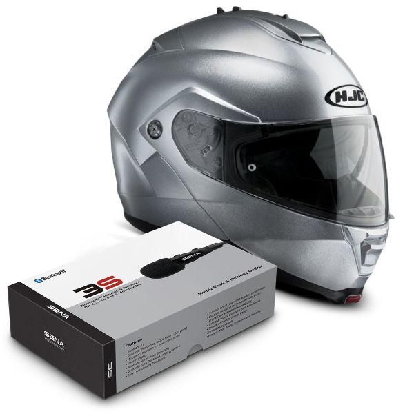 Casque Modulable HJC IS-MAX II CR Silver + Kit Bluetooth Sena 3S