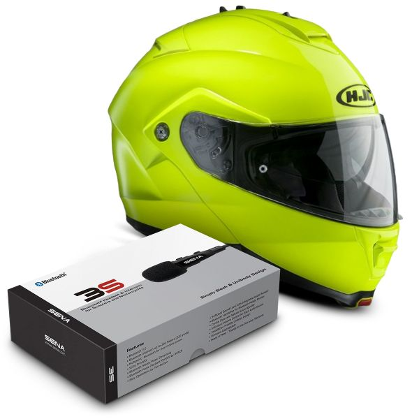 Casque Modulable HJC IS-MAX II Vert Fluo + Kit Bluetooth Sena 3S