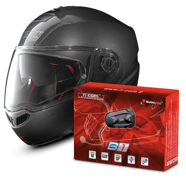Casque Modulable Nolan N104 Absolute Classic N-Com Lava Grey 4 + Kit Bluetooth B1