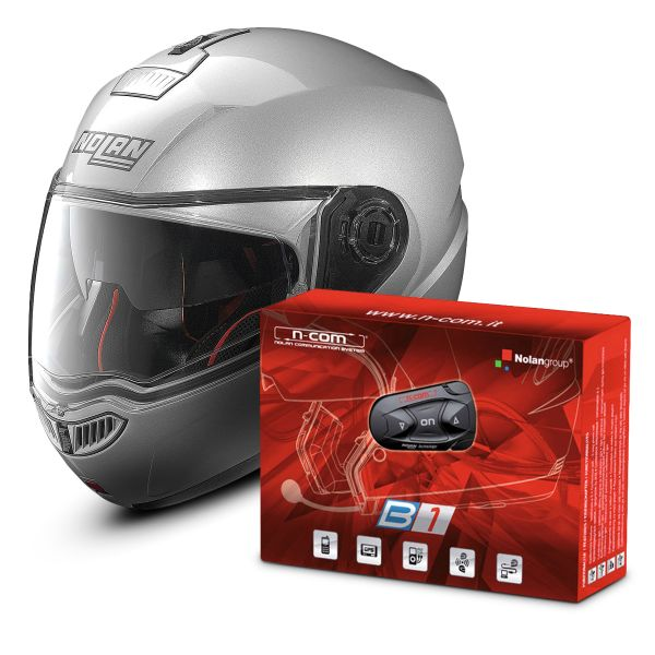 Casque Modulable Nolan N104 Absolute Classic N-Com Platinium Silver 1 + Kit Bluetooth B1